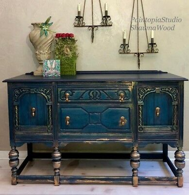 Vintage Buffet, Painted, Jacobean, Sideboard, Console