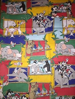 Animaniacs at The Zoo Pinky and The Brain Fabric Material Warner Brothers