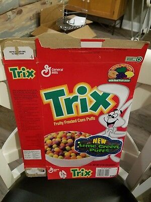 Vintage Trix General Mills Cereal Box - Lime Green Puffs