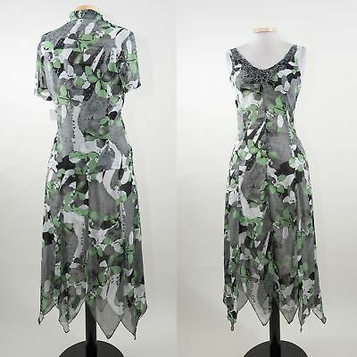 Miss Alliage Womens Modest Top, Dress Outfit Green Print NWT Sz 6/Small $199- AK