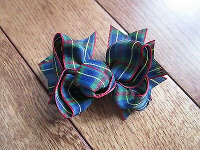 "New 3.5"" SCHOOL UNIFORM HAIR BOW matches plaid 55 ~ 5T 6 7 8 9 10 12 14 M2M pony"