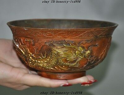 Marked Old Chinese pure Bronze gilt Double Dragon Dragons Statue Bowl Cup bowls