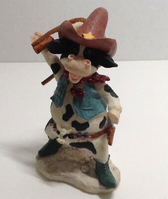 "Russ Berrie ""Home on the Range"" Cow Figurine 4-1/4""T"
