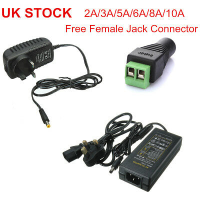 UK Plug AC100-240V to DC 12V 2A -10A LED Strip Power Supply Transformer Adapter