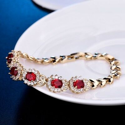 Jewelry For Women Red Garnet Crystal Charm Bangle Chain Bracelets Gold Filled