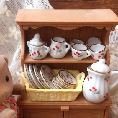 15pcs Mini Dollhouse Miniature Tableware Porcelain Ceramic Coffee Tea Set 1:12
