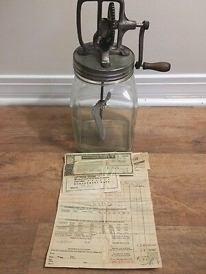 Vintage Antique Butter Churn 4 Qt. with Original Receipt from 1937