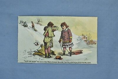 Advertising Victorian Trade Card The White Sewing Machine Children Sledding 5245