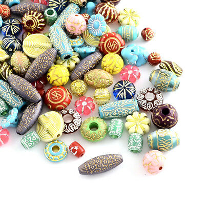 500g Unique Assorted Acrylic Beads Metal Enlaced Loose Bead Beading Craft 6~22mm