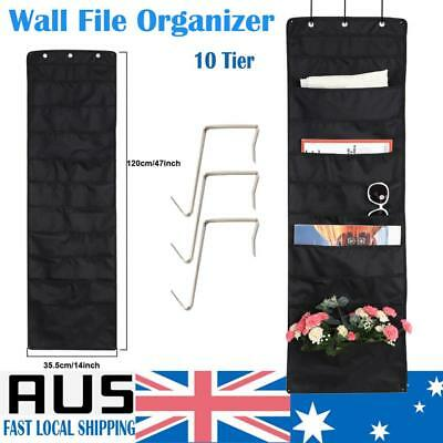 10 Pockets Black Wall Hanging Wall Files Over Door File Organizer Holder Rack AU