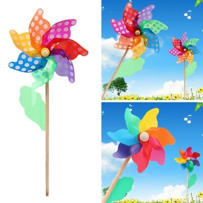 Colorful Wooden Handle Windmill Pinwheel Wind Spinner Outdoor Garden Lawn Decor