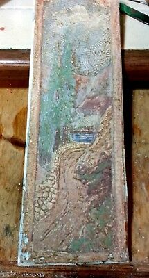 """Vintage Claycraft Scenic Tile 18"""" x 6"""" Good Color XLNT Cond"""