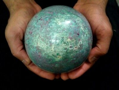 Biggest Red Ruby in Green Zoisite Polished Stone Sphere Crystalline Ball 3.70 KG