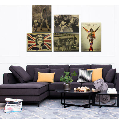 Kraft Paper Printing Colorful Vintage Large Drawing Wall Decor Home Office