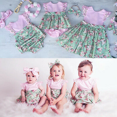 USA Sister Baby Girl Kid 2Pcs Outfit Set Floral Princess Dress Lace Romper Skirt