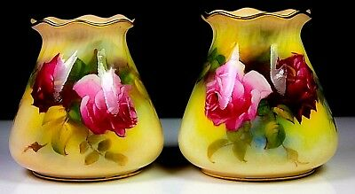 Antique Pair of Royal Worcester Vases Hand Painted Roses By M HUNT Circa 1923