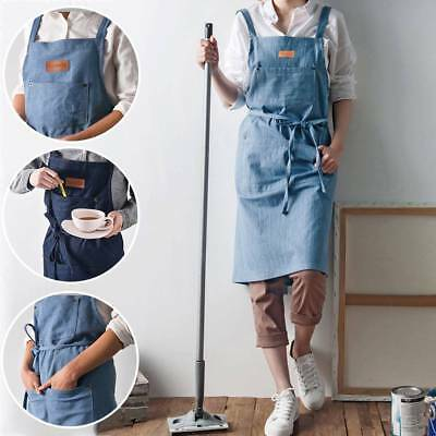 Denim Pocket Bib Apron Baking Chefs Coffee Cooking Household Florist Work Wear