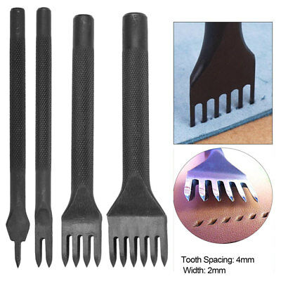 Leather Craft Hole Chisel Graving Stitching Punch Tool Set 1/2/4/6 Prong 4mm GL
