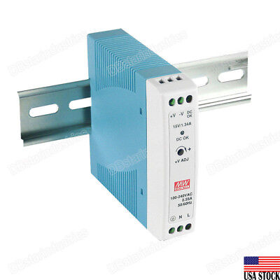 MEAN WELL MDR-20-5 15W Industrial DIN Rail Power Supply 5V 3A USA