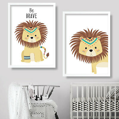 Pair of TRIBAL LION be BRAVE Art Print NURSEY wall decor poster kids picture