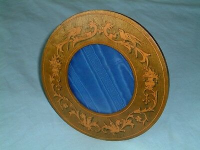"Antique Italian SORRENTO WARE 6.75"" Inlaid Olive Wood CIRCULAR PHOTO FRAME"