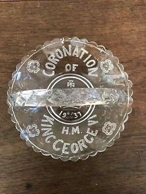 Commemorative 1937 King George Coronation Glass Bowl With Handle
