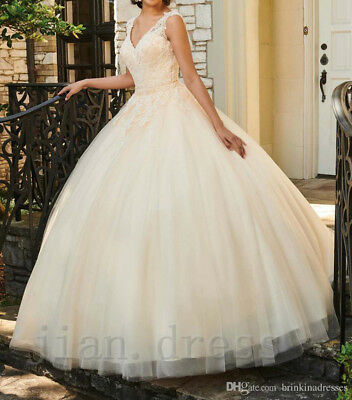 Formal V Neck Long Tulle Quinceanera Dresses Vintage Wedding Bridal Ball Gowns