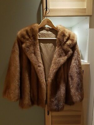 Vintage mink fur coat - brown - size small S to medium M