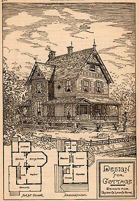 1885 ad Vintage Antique Cottage Design House plan Victorian Godey's Moore's Pa