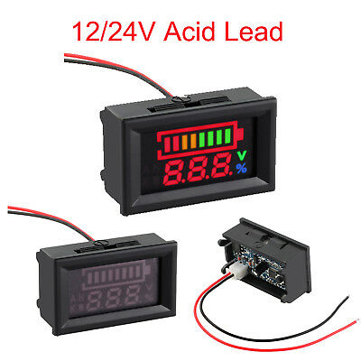 12/24V Acid Lead Battery Digital LED Capacity Tester Indicator Voltmeter Meter