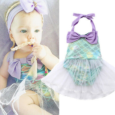 Kids Baby Girls Mermaid Costume Bikini Swimwear TuTu Dress Princess Dress AU