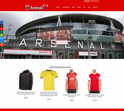 Fully Stocked ARSENAL FC business: FREE Domain/Hosting. Up to £89 a sale!
