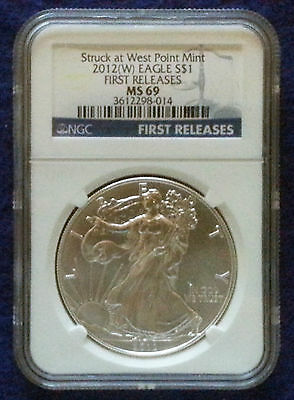2012 (W) American Silver Eagle NGC MS69 First Releases Blue Label (014)
