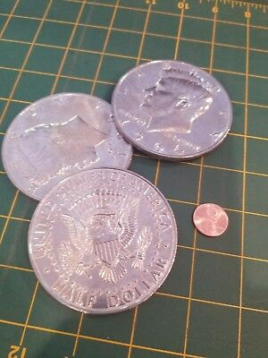 BUNDLE Lot of 3 GIANT 1964 Kennedy Half Dollars 3 Inch Coins Novelty COASTERS