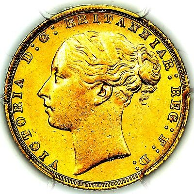 1876 Queen Victoria Great Britain Gold Sovereign PCGS MS63