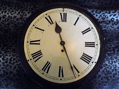 ANTIQUE SINGLE FUSEE CLOCK EBONISED CASE 12 inch OAK UNDER EBONEY