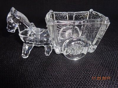 Vintage Clear Glass Donkey and Cart Candy/ Nut Dish