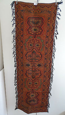"Vintage/antique Colorful Folklore Arts & Crafts Dutch Paisley Runner ""bietkleed"