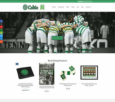 Fully Stocked CELTIC FC business: FREE Domain/Hosting. Up to £59 a sale!
