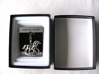 Nib Sterling Silver Horse (Mare) With Foal On 18'' Silver Chain