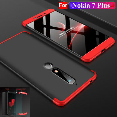 For Nokia 6 2018/7 Plus 360° Full Cover Case Thin PC Shell+9H Tempred Glass Film