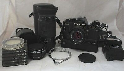 Praktica BC1 SLR Camera PENTACON 50mm+Prakticar 80-200mm +Filters+Flash+Case-226