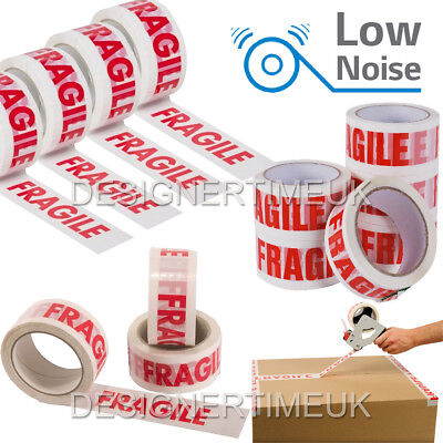 Fragile Low Noise Long Length Packing Tape Strong - 48mm x 66m Parcel Tape Packs
