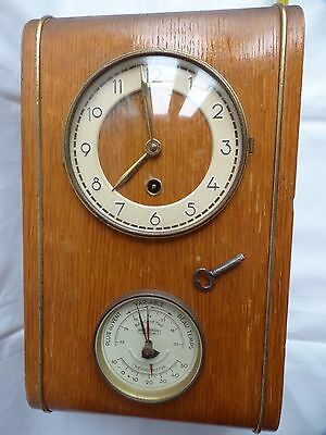 Key Wind Up Clock Barometer Thermometer Manu France Saint Etienne Vintage Old