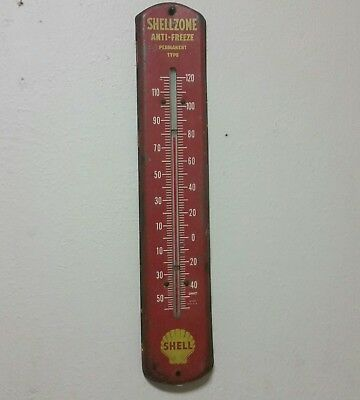 1940's SHELLZONE ANTI-FREEZE metal advertising thermometer gas station sign oil