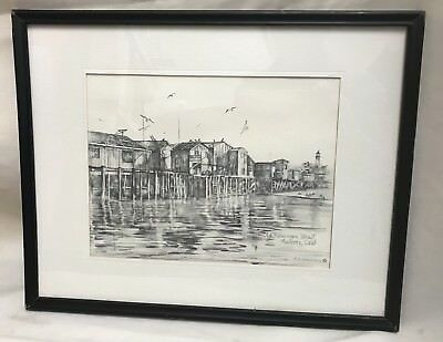 Old Fisherman's Wharf Monterey CA Lithograph Pencil Art by Mary Agnes Lansdowne