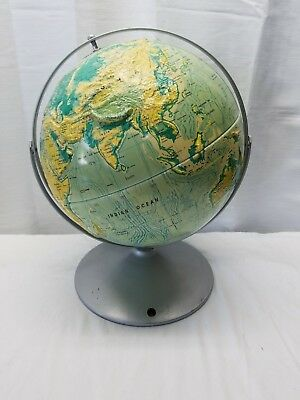 """Vintage 12"""" Gyro Double Axis Sculptural Relief Educational World Earth Globe"""