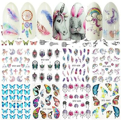 Nail Stickers Water Decals Transfers Unicorns Dreamcatchers Feathers