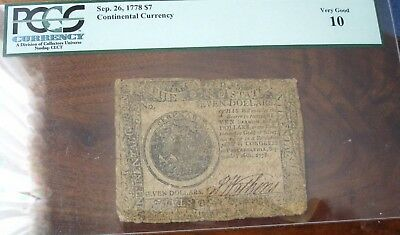 1778 Continental Currency $7 Sep. 26 FR#CC-80 PCGS VG10