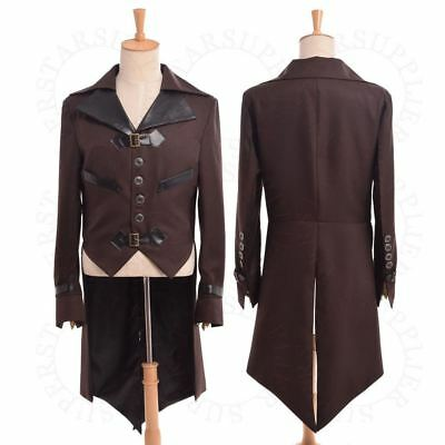 Vintage Victorian Steampunk Tailcoat Retro Aviator Long Jacket Party Costume